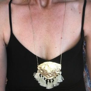 Gold and fringe tassel necklace from Anthropologie